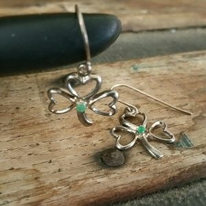 Jewelry - Silver Trinity Clover and Emerald Earrings